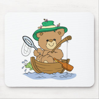 Cute Bear Fishing in Boat Mouse Pad