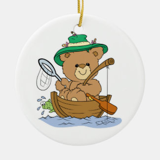Cute Bear Fishing in Boat Double-Sided Ceramic Round Christmas Ornament