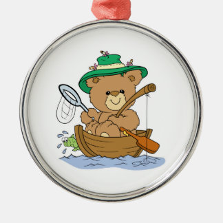 Cute Bear Fishing in Boat Round Metal Christmas Ornament