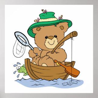 Cute Bear Fishing in Boat Poster