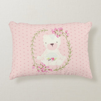 Cute Bear Floral Wreath and Hearts Accent Pillow
