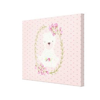 Cute Bear Floral Wreath and Hearts Canvas Print