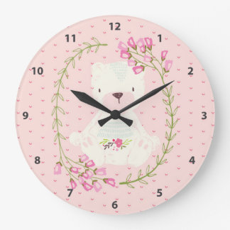Cute Bear Floral Wreath and Hearts Large Clock