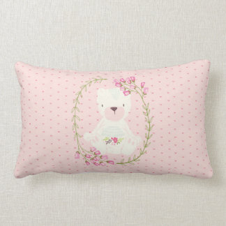 Cute Bear Floral Wreath and Hearts Lumbar Pillow