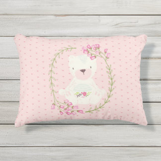 Cute Bear Floral Wreath and Hearts Outdoor Pillow