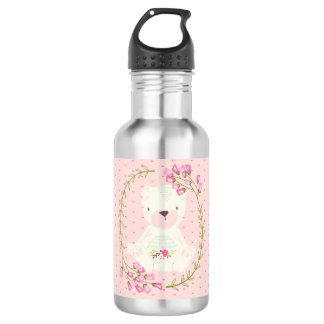 Cute Bear Floral Wreath and Hearts Stainless Steel Water Bottle