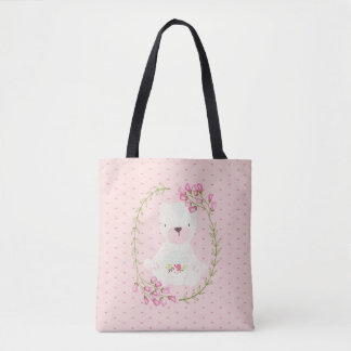 Cute Bear Floral Wreath and Hearts Tote Bag