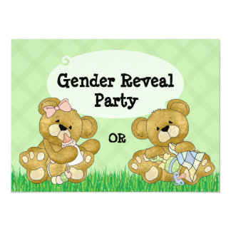 Cute Bear Gender Reveal Party Card