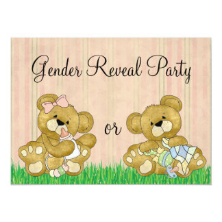 Cute Bear Gender Reveal Party 5.5x7.5 Paper Invitation Card