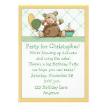 Cute Bear Green Birthday Invitation