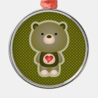 Cute Bear Green Metal Ornament