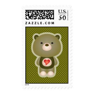 Cute Bear Green Postage