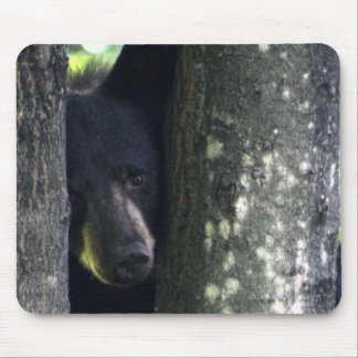 Cute Bear Hiding Behind The Trees Mouse Pad