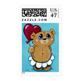 Cute Bear Holding Heart Balloon Postage