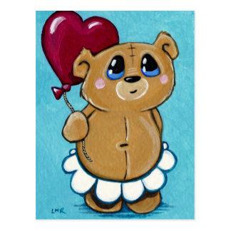 Cute Bear Holding Heart Balloon Postcard