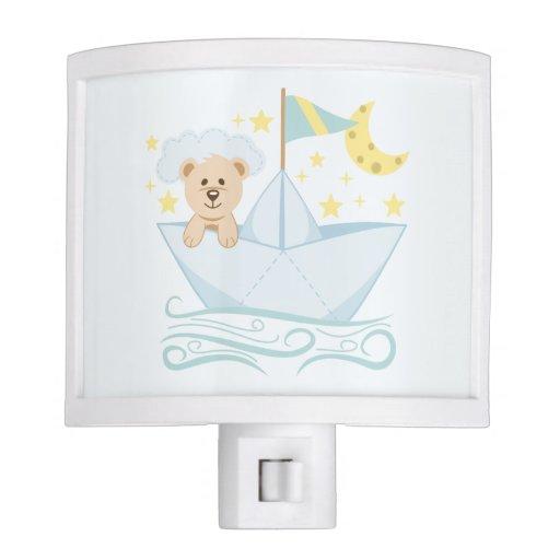 Cute Bear in Paper Boat Night Light