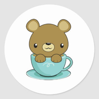 Cute Bear in Teacup (Brown Bear Type) Classic Round Sticker