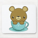 Cute Bear in Teacup (Brown Bear Type) Mouse Mats