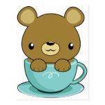 Cute Bear in Teacup (Brown Bear Type) Postcards