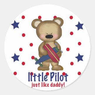 Cute Bear Little Pilot just like Daddy! Classic Round Sticker