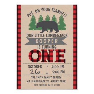 Cute Bear Lumberjack 1st Birthday Invitation
