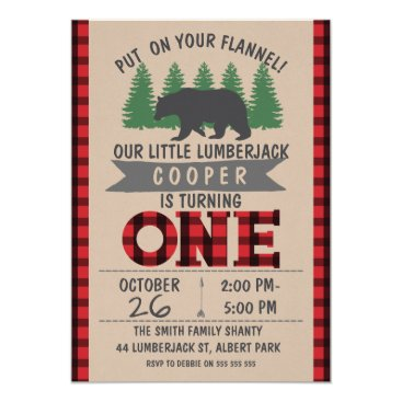 Sugar_Puff_Kids Cute Bear Lumberjack 1st Birthday Invitation