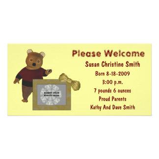 Cute Bear New Baby Birth Announcement Photo Card