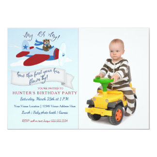 Cute Bear Pilot n Airplane First Birthday Party Card
