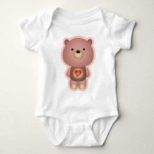 Cute Bear Pink Baby Bodysuit