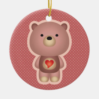Cute Bear Pink Ceramic Ornament