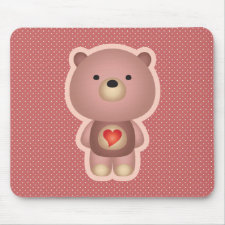 Cute Bear Pink Mouse Pad