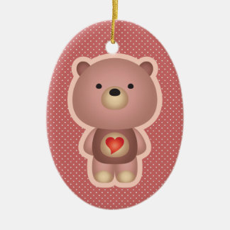 Cute Bear Pink Double-Sided Oval Ceramic Christmas Ornament