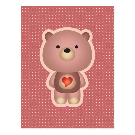 Cute Bear Pink Postcard