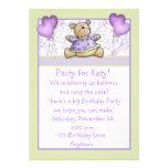 Cute Bear Purple Birthday Invitation