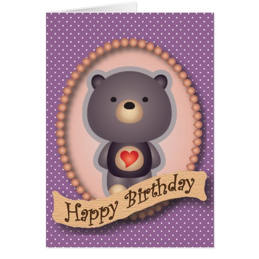 Cute Bear Purple Happy Birthday Card
