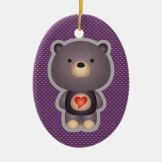 Cute Bear Purple Double-Sided Oval Ceramic Christmas Ornament
