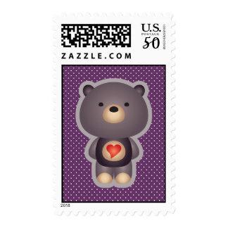 Cute Bear Purple Postage