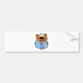 Cute Bear Reading A Book Bumper Sticker