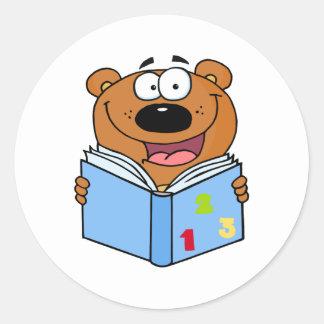 Cute Bear Reading A Book Classic Round Sticker