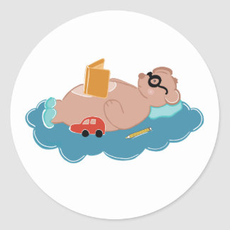 Cute bear reading book classic round sticker