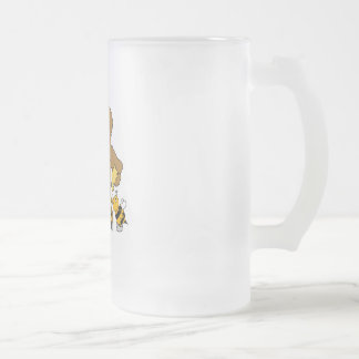 Cute Bear Stealing Honey Frosted Glass Beer Mug