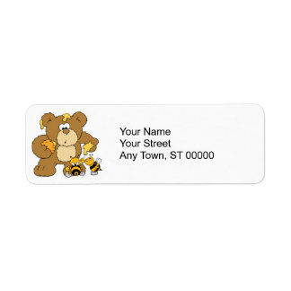 Cute Bear Stealing Honey Return Address Label
