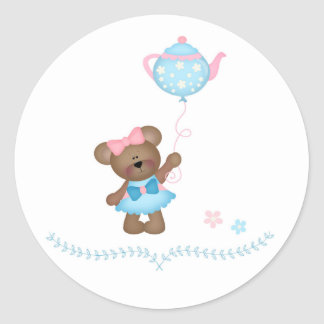 Cute Bear, Tea Party Classic Round Sticker
