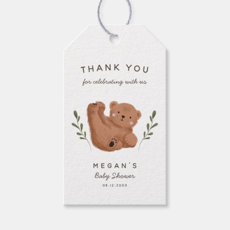 Cute Bear Theme Baby Shower Thank You Gift Tags