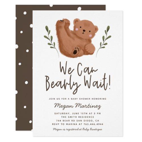 Cute Bear Theme Gender Neutral Baby Shower Invitation