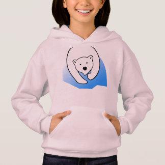 cute bear white polar friend family hoodie