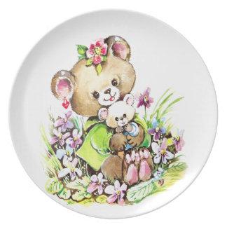 Cute Bear With A Baby Bear Plate