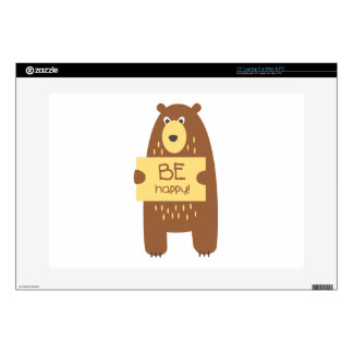 """Cute bear with a sign for text decal for 15"""" laptop"""