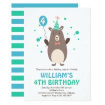 Cute Bear with Balloon Birthday Party Invitation