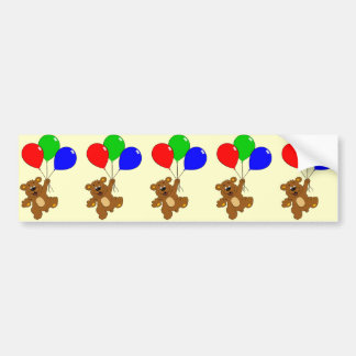 Cute bear with balloons cartoon bumper sticker